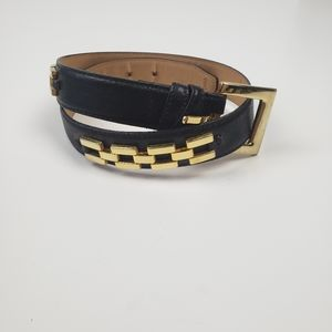 Genuine Leather Gold Chain Detail Belt